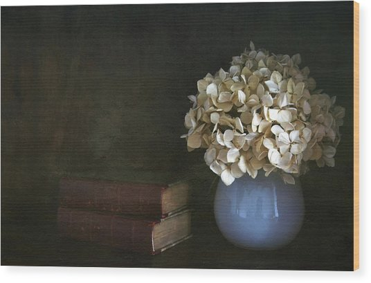 Still Life With Books And Flowers Wood Print