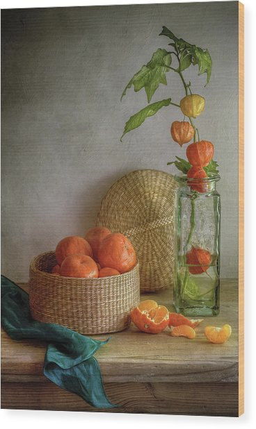Still Life With Clementines Wood Print