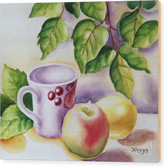 Still Life With Cup And Fruits Wood Print