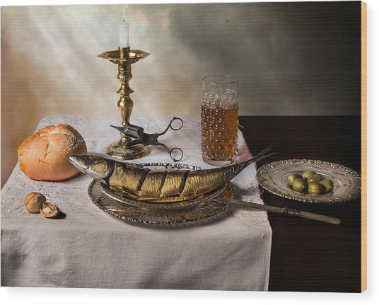 Still Life With Fish-bread-olives And Snuffed Candle Wood Print