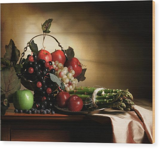 Still Life With Grapes And Asparagus Wood Print