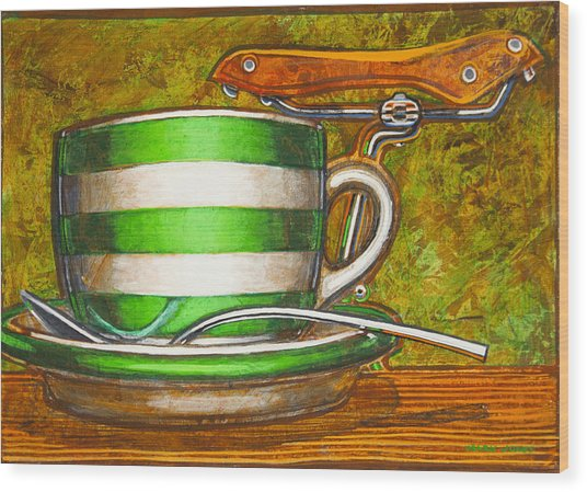 Still Life With Green Stripes And Saddle  Wood Print