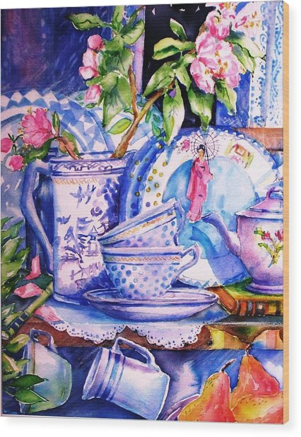 Still Life With  Japanese Plate And Apple Blossom  Wood Print by Trudi Doyle