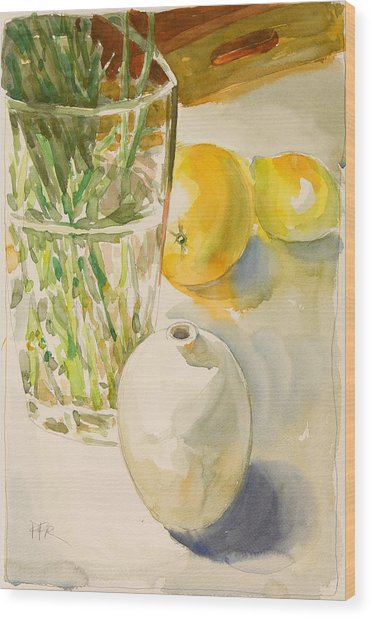 Still Life With Lemon And Vase Wood Print by Pablo Rivera