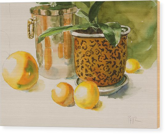 Still Life With Lemons And Potted Plant Wood Print by Pablo Rivera