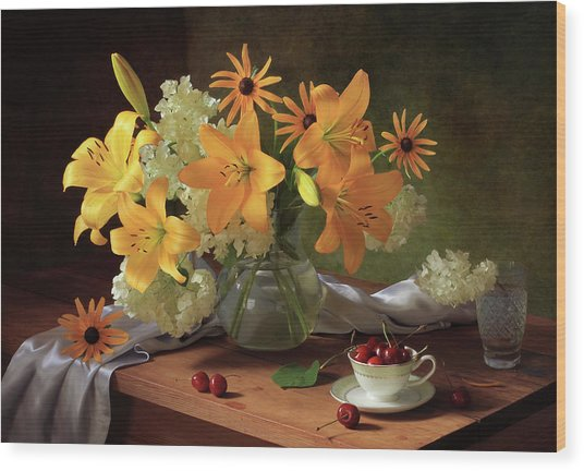 Still Life With Lilies Wood Print by ??????????? ??????????