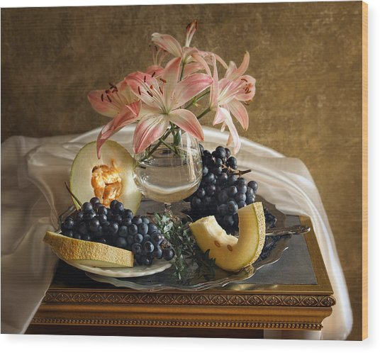 Still Life With Lily Flowers And Melon Wood Print