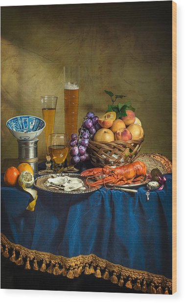 Still Life With Lobster Fruits And Great Salt Wood Print
