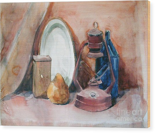 Watercolor Still Life With Rustic, Old Miners Lamp Wood Print
