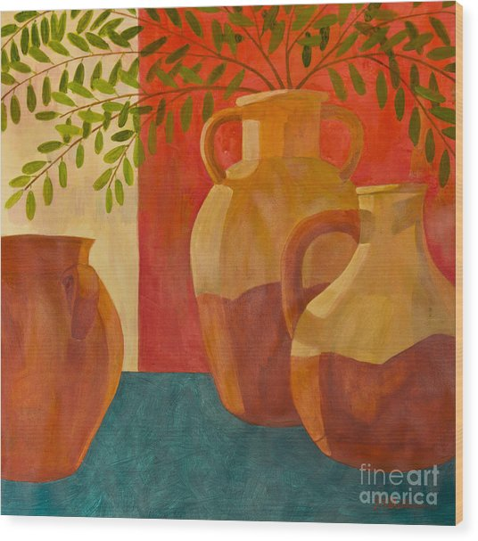Still Life With Olive Branches I Wood Print
