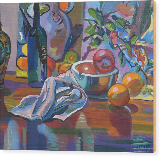 Still Life With Oranges Wood Print