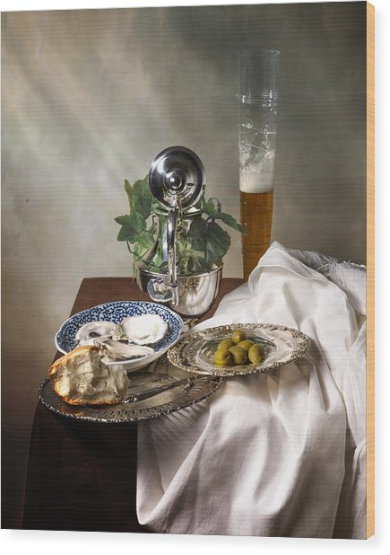 Still Life With Pass Glass-silverware-oysters And Olives Wood Print