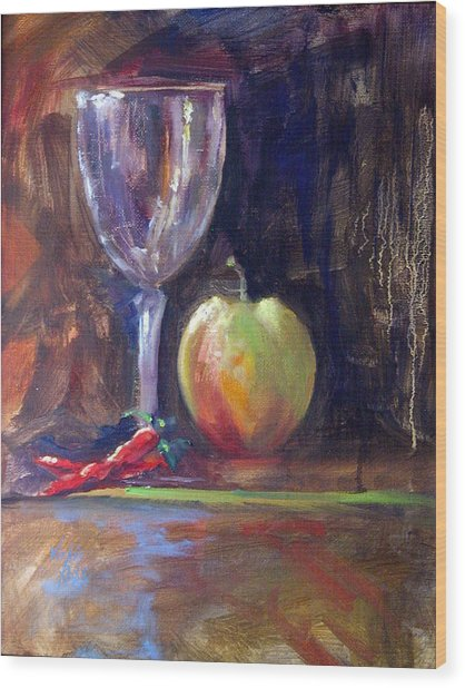 Still Life With Pepper Wood Print