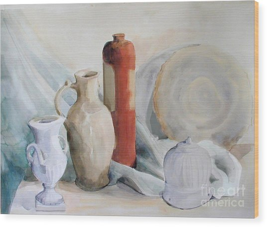 Watercolor Still Life With Pottery And Stone Wood Print