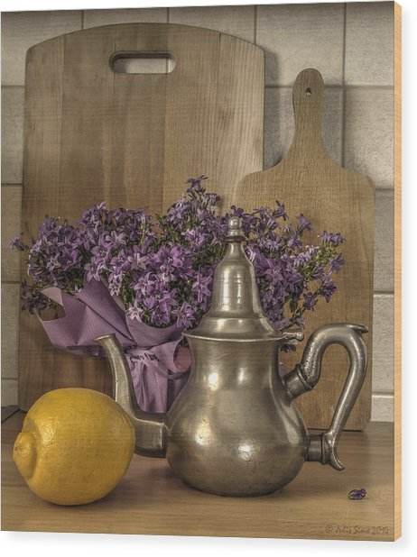 Still Life With Purple Flowers And Citron Wood Print