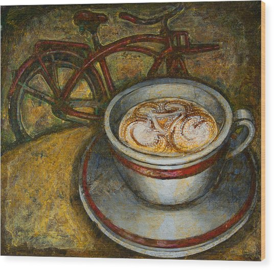 Still Life With Red Cruiser Bike Wood Print
