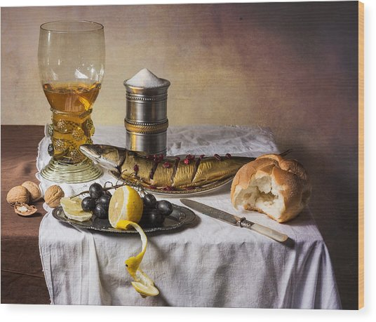 Still Life With Roemer-great Salt-fish And Bread Wood Print
