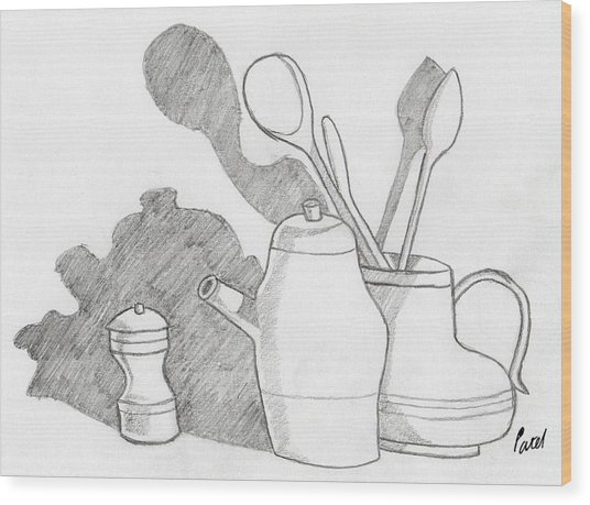 Still Life With Shadows Wood Print by Bav Patel