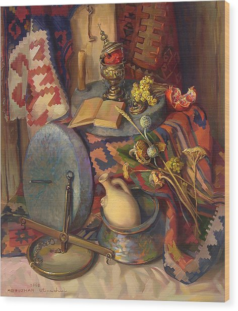 Still Life With Special Stones For Getting Wheat Flour Wood Print by Meruzhan Khachatryan