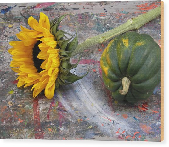 Still Life With Sunflower Wood Print