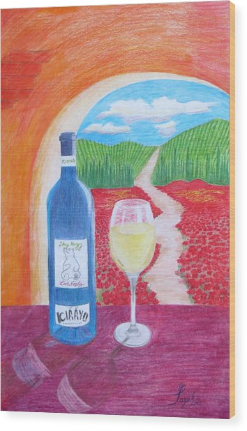 Tuscan Wine Wood Print