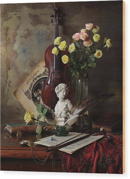 Still Life With Violin And Bust Wood Print by Andrey Morozov
