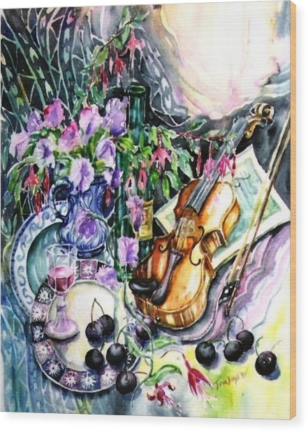 Still Life With Violin And Cherries Wood Print by Trudi Doyle