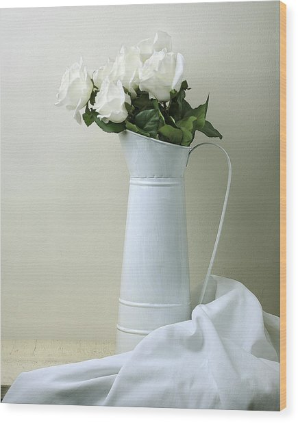 Still Life With White Roses Wood Print