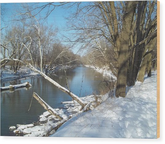 Still Water River Winter Wood Print