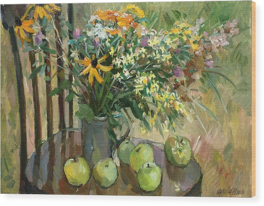 Stilllife With Apples Wood Print