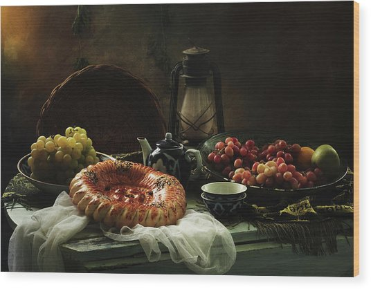 Stilllife  With Cake And Grapes Wood Print