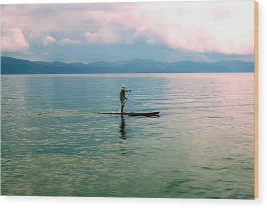 Stillness On The Lake Wood Print