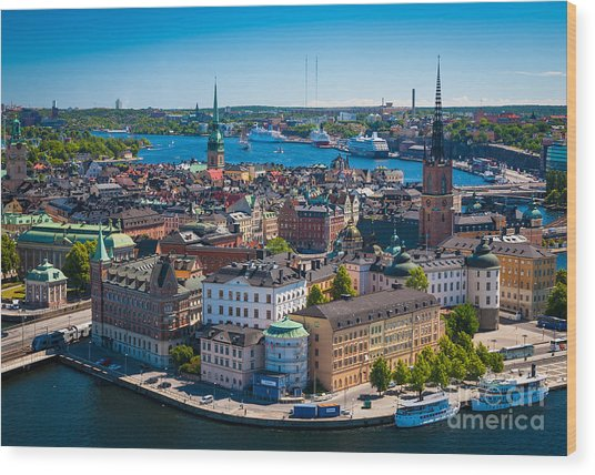 Stockholm From Above Wood Print