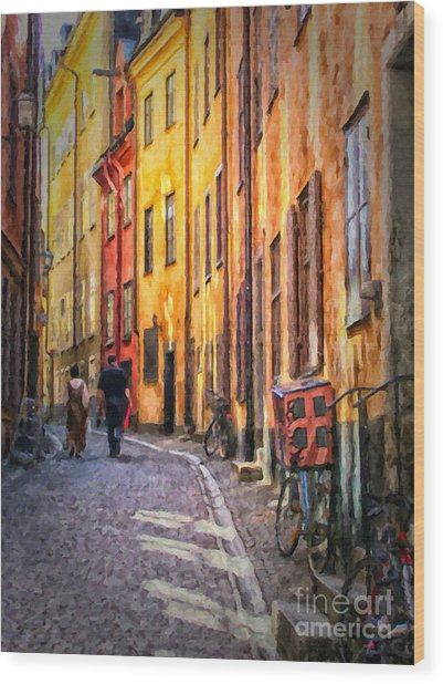 Stockholm Gamla Stan Painting Wood Print