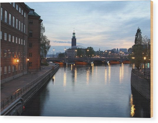 Stockholm Vasabron And The City Hall By Night Wood Print by Pejft