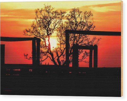 Stockyard Sunset Wood Print
