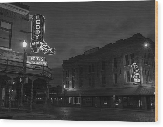 Stockyards Main And Exchange Bw Wood Print