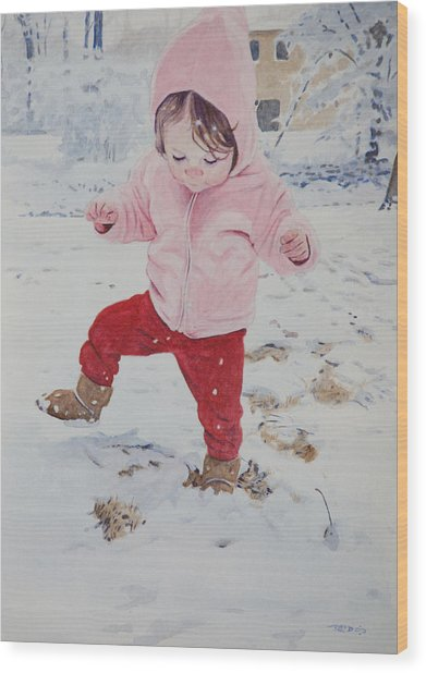 Stomping In The Snow Wood Print