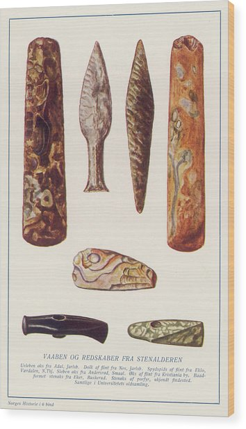 Stone Age Artifacts From Norway - Tools Wood Print by Mary Evans Picture Library
