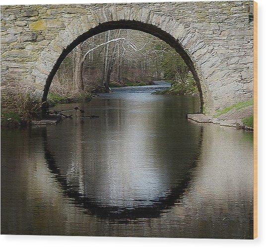 Stone Arch Bridge - Craquelure Texture Wood Print