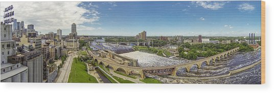 Stone Arch Bridge From The Air Wood Print