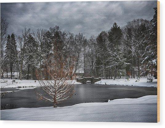 Stone Arch Bridge In Winter Wood Print