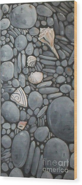 Stone Beach Keepsake Rocky Beach Shells And Stones Wood Print