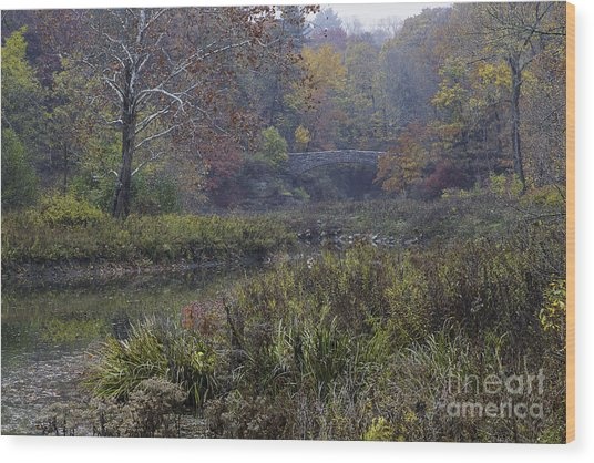 Stone Bridge In Autumn I Wood Print
