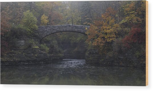 Stone Bridge In Autumn II Wood Print
