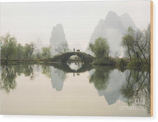 Stone Bridge In Guangxi Province China Wood Print