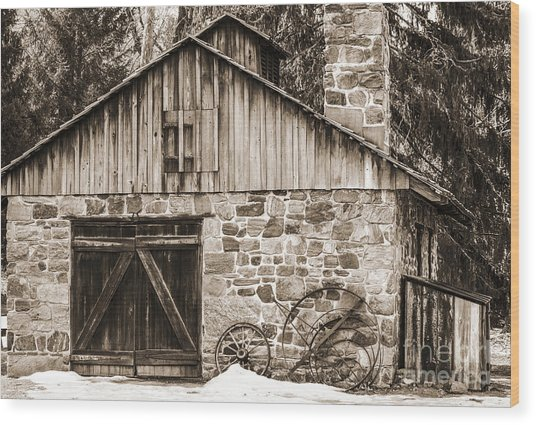 Stone Cabin 2 Wood Print