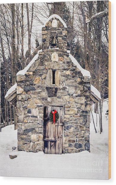 Stone Chapel In The Woods Trapp Family Lodge Stowe Vermont Wood Print