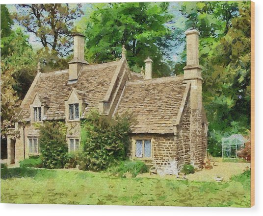Wood Print featuring the drawing Stone Cottage by Paul Gulliver