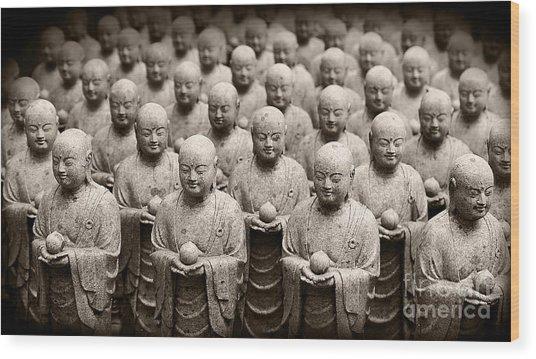 Stone Figures Of Jizo Wood Print